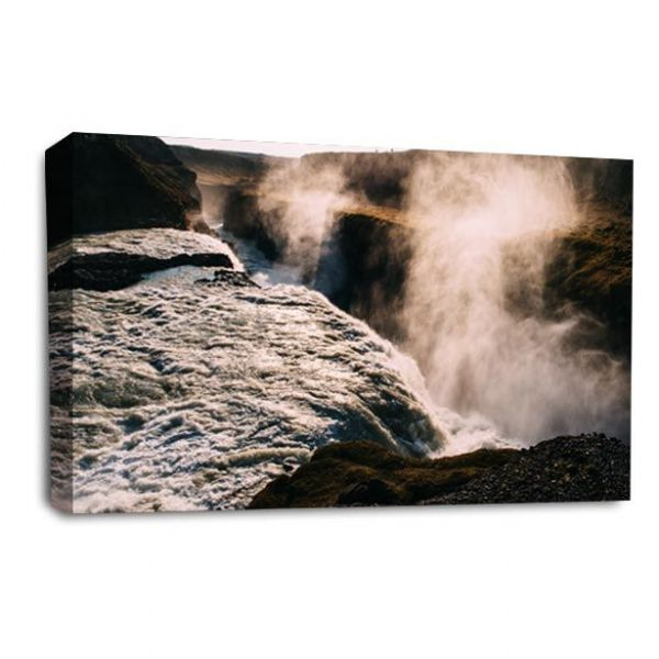 Waterfall Canvas Wall Art Picture Forest White Black Print